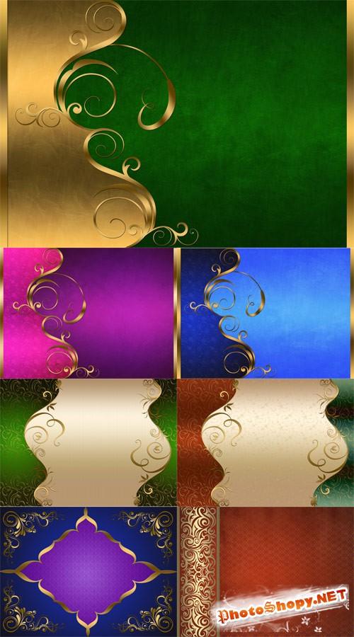 Стильные фоны с позолочеными узорами