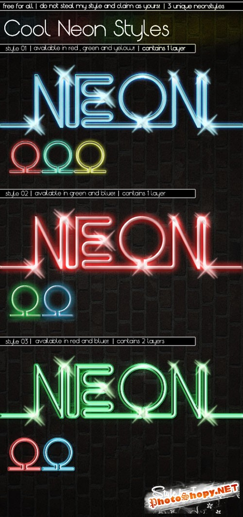 Cool Neon Photoshop Styles