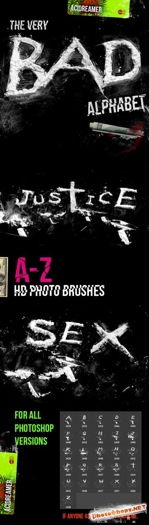 Cocaine Alphabet Photoshop Brushes