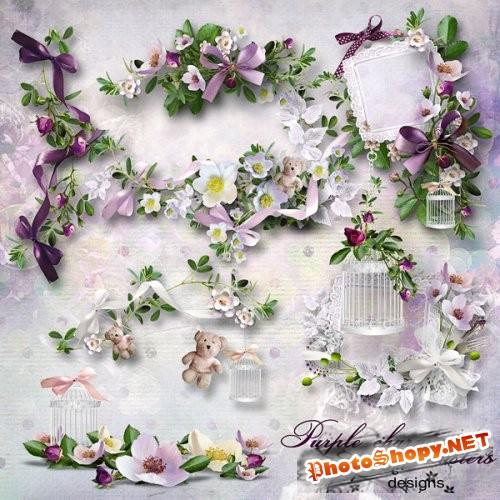Цветочный скрап-набор - Фиолетовое очарование