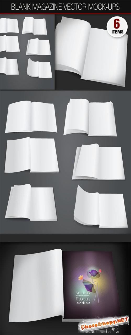 Designtnt - Blank Open Magazine Vector Mock-ups