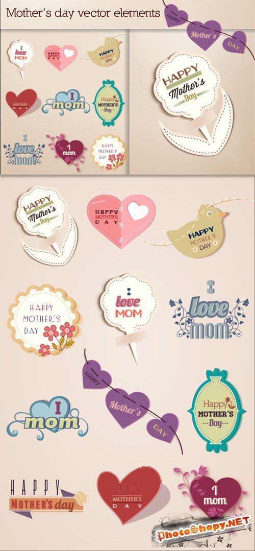Designtnt - Mother's Day Vector Elements Set 2