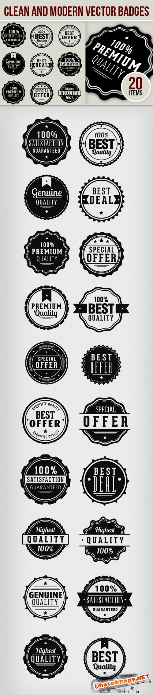 Designtnt - Clean and Modern Vector Badges