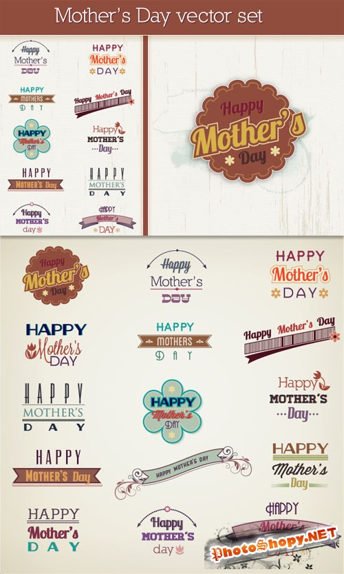 Designtnt - Mother's Day Vector Elements Set 1