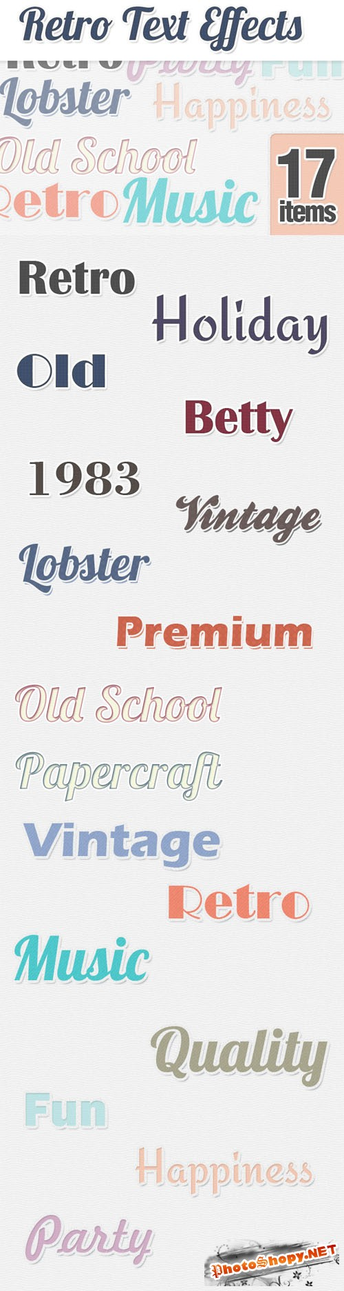 Designtnt - Retro Text Styles for Photoshop