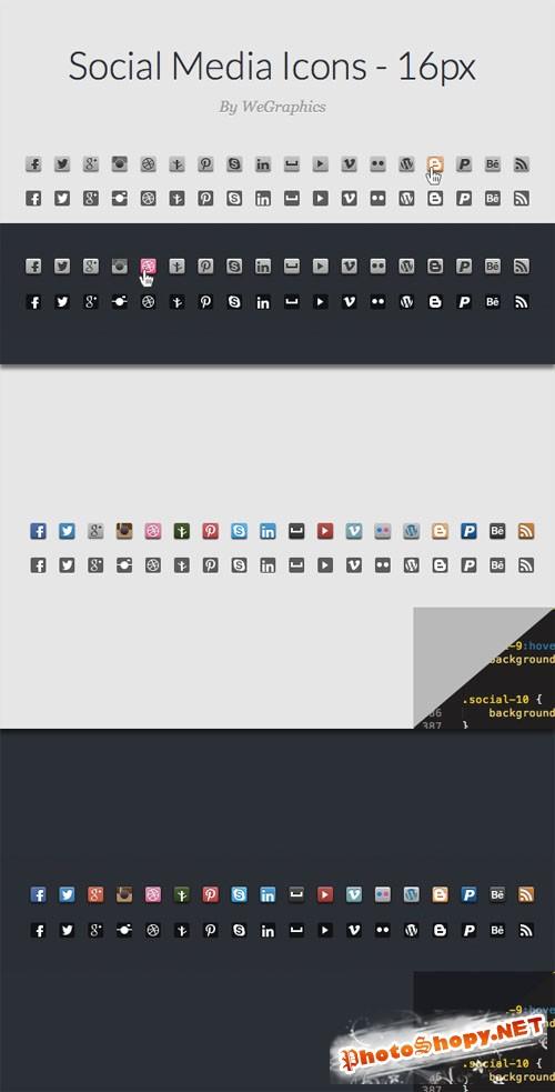 WeGraphics - CSS Sprite Ready Social Media Icons – 16px