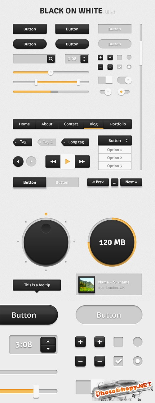 WeGraphics - Black on White UI Kit - Retina Ready