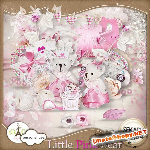 Детский скрап-набор - Маленький розовый мишка