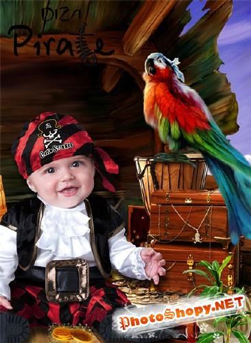 Шаблон для фотошоп - Пират с добычей
