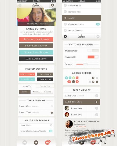 Pixeden - Caprice iPhone App UI Kit Psd