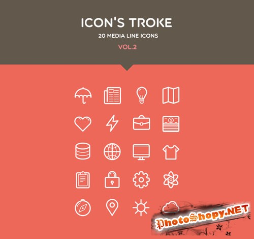 Pixeden - Flat Stroke Line Icons Set Vol2
