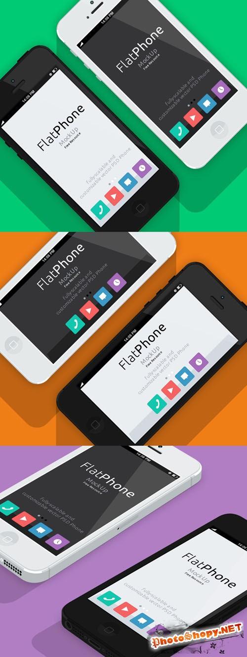 Pixeden - iPhone 5 Psd Flat Design Mockup