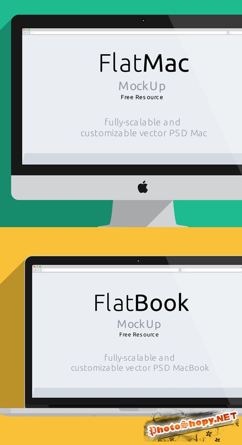 Pixeden - iMac & Macbook Psd Flat Mockup