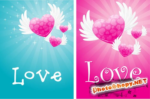 Love Cards PSD Template #2