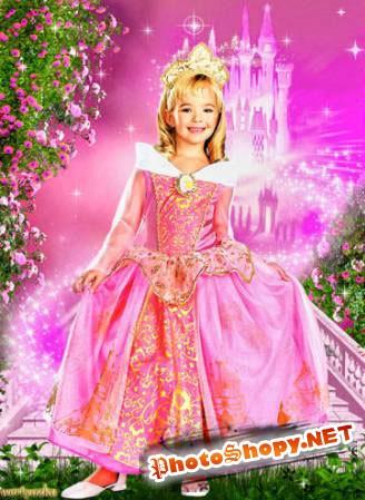 Шаблон для фотошоп - Очаровательная принцесса в волшебном замке