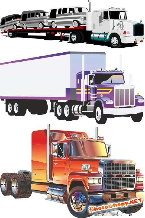 Грузовики, фуры, фургоны, седельные тягачи - векторный сток