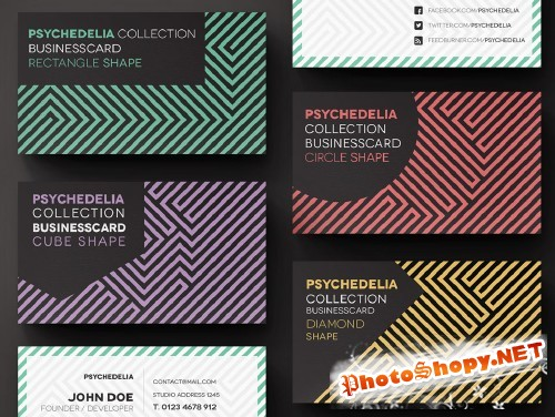 Pixeden - Psychedelia Business Card Template
