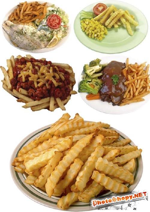 Гарнир: картофель фри (подборка клипарта)