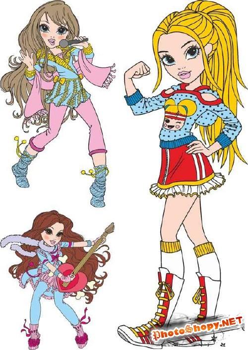 Куклы Moxie - векторные изображения