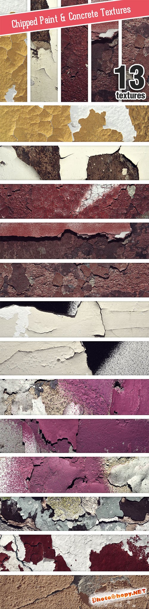Designtnt - Chipped Paint Concrete Set 1