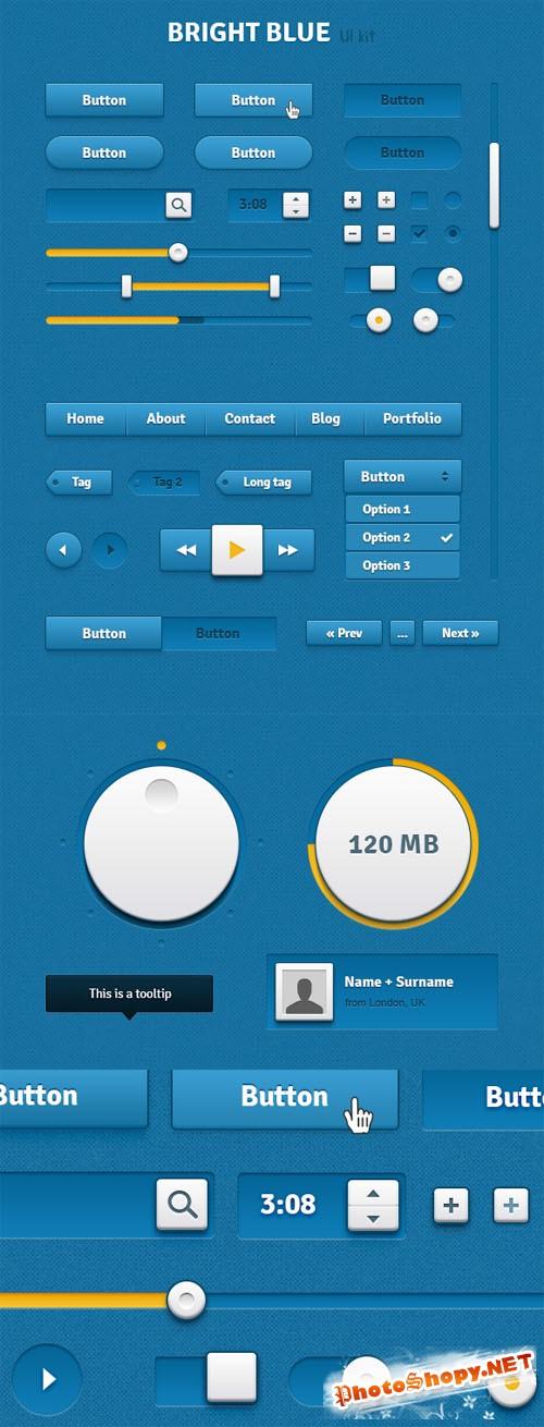 WeGraphics - Bright Blue UI Kit - Retina Ready