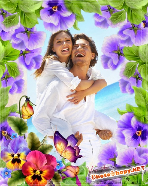 Цветочная рамка - Лето, фиалки и любовь
