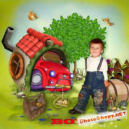 Детский нарисованный набор для скрапбукинга - Маленький автомобилист