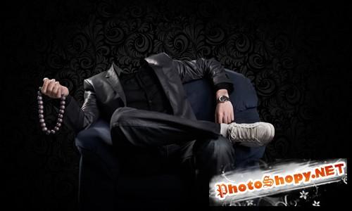 Шаблон для фотошопа  - Мужчина в кресле