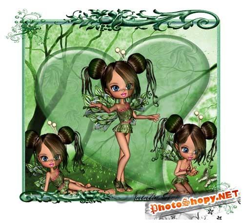 Красивый скрап-набор с 3D куколками - Зелёная маленькая фея