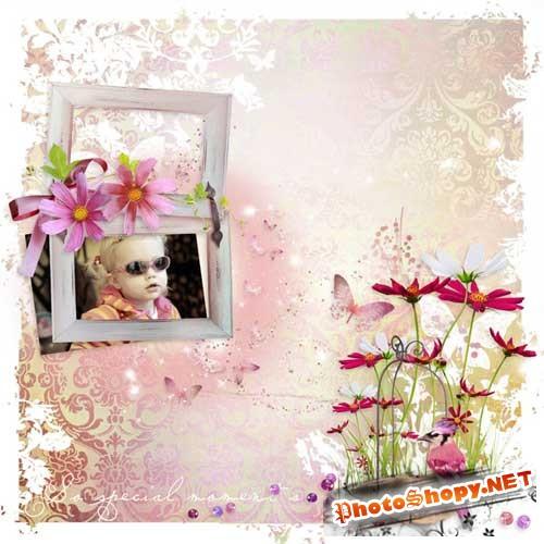 Нежно-розовый скрап-набор - Птичье королевство