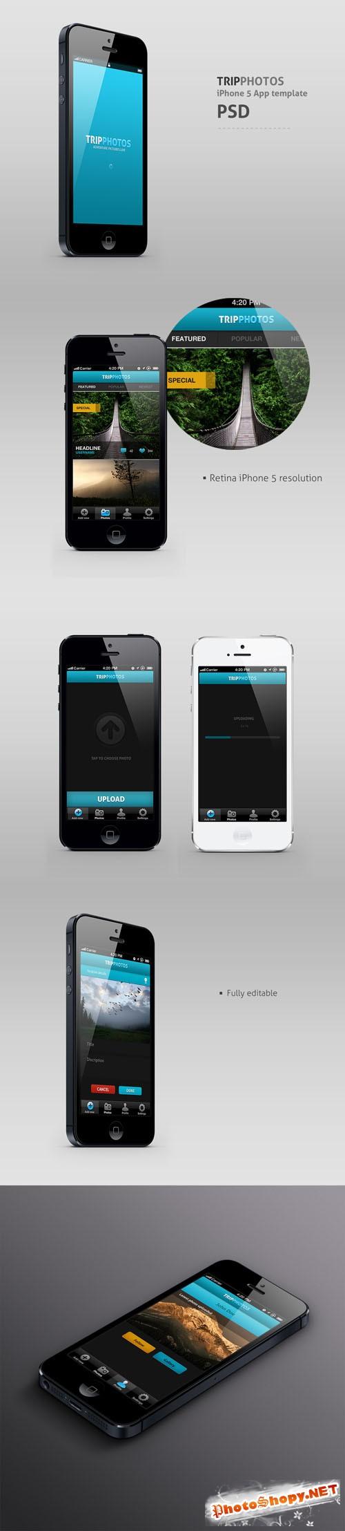TripPhotos iPhone 5 app PSD template REUPLOAD