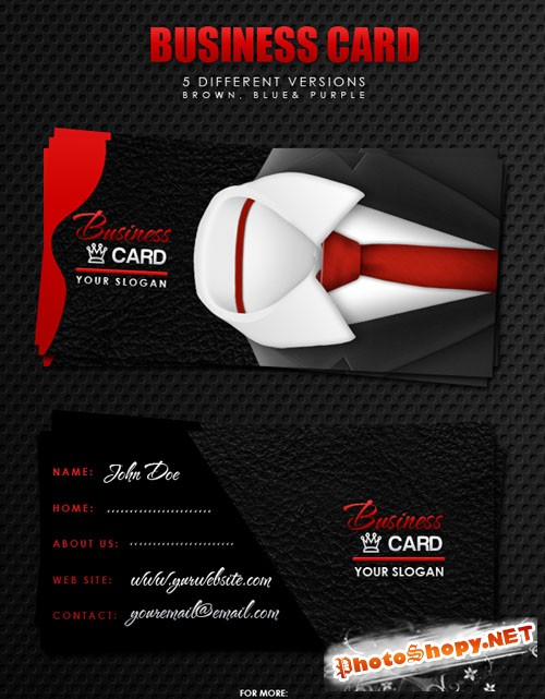 5 Differents Business Cards PSD Template