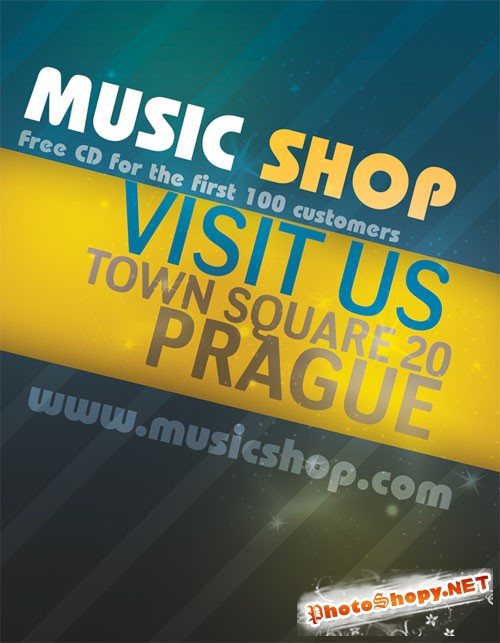 Music Shop Flyer/Poster PSD Template