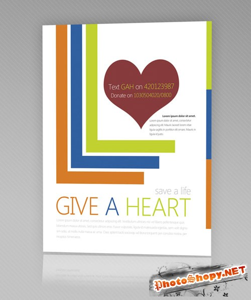 Give a Heart Flyer/Poster PSD Template