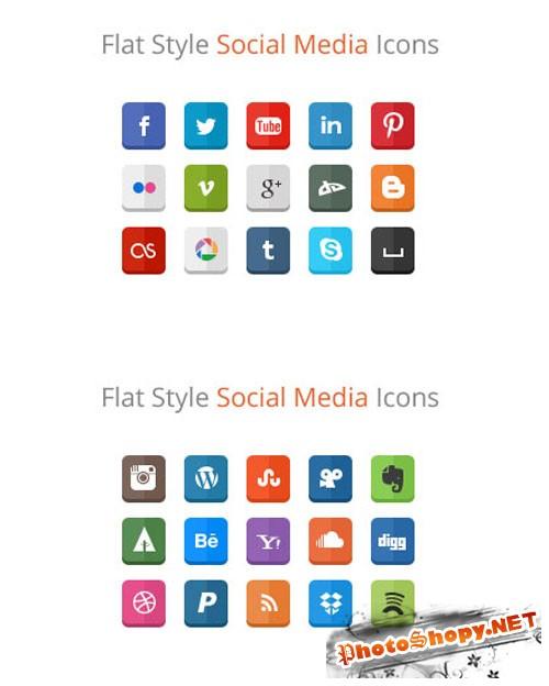 WeGraphics - 30 Flat Style Social Media Icons