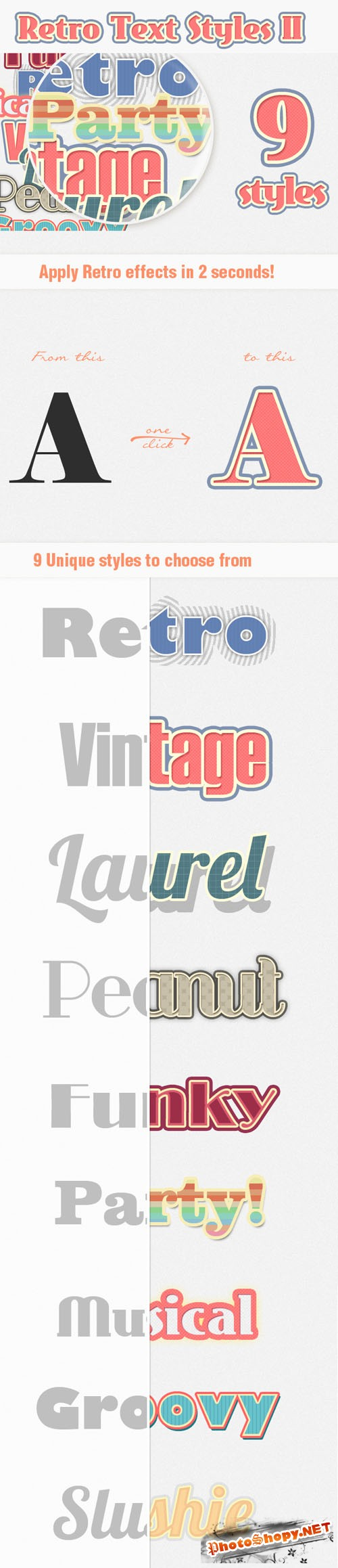 Designtnt - Retro Text Styles Set 2