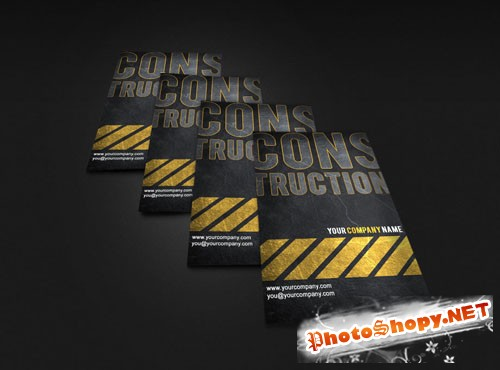 Construction Business Card PSD Template