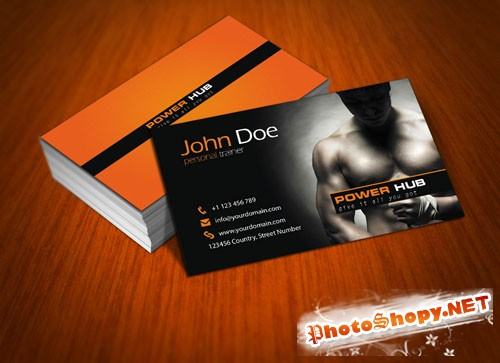 Power Hub Gym Business Card PSD Template