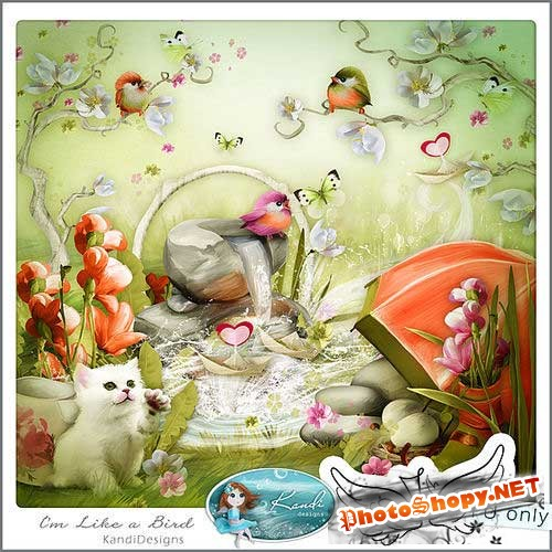 Нарисованный набор для скрапбукинга - Я словно птица