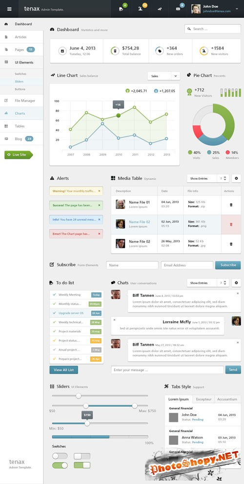 Pixeden - Tenax Psd Admin Panel Template