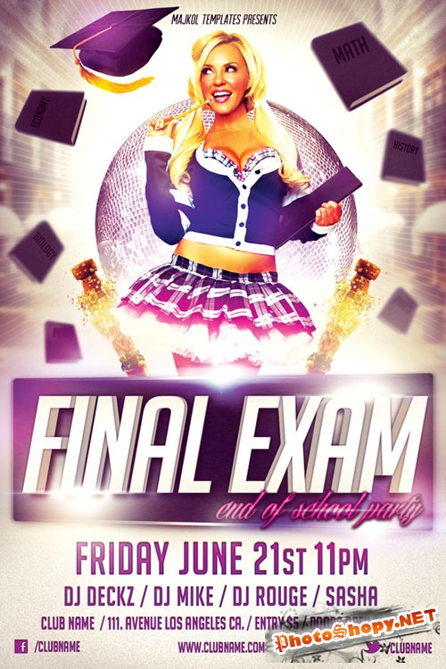 Final Exam Party Flyer/Poster PSD Template