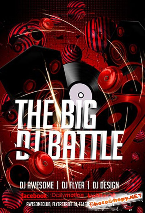 DJ Battle Party Flyer/Poster PSD Template