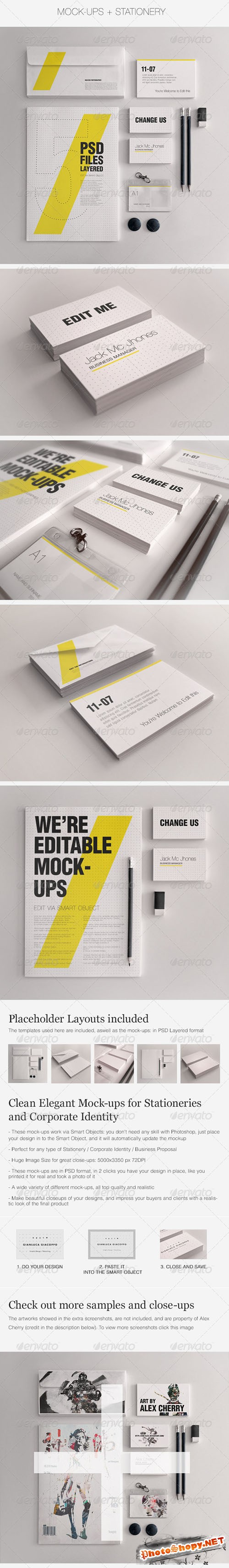 GraphicRiver - Realistic Stationery Mockups Set 1- Corporate ID 3358091