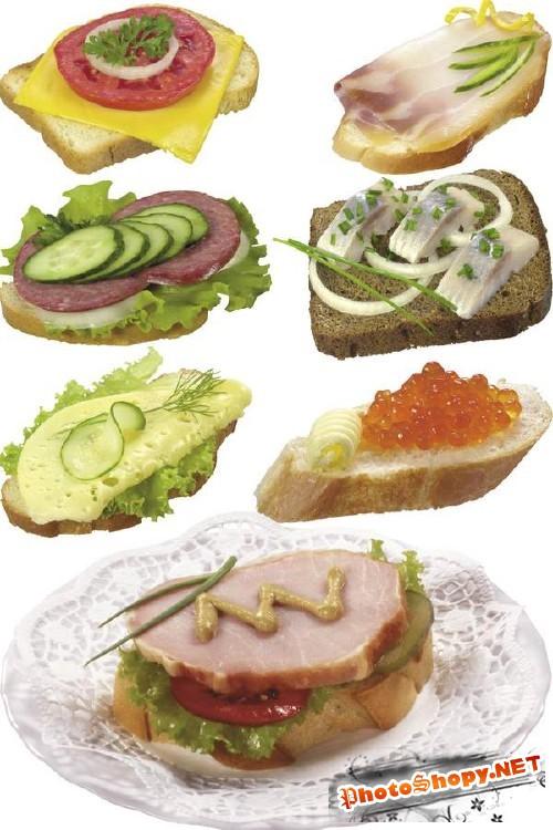 Подборка изображений бутербродов (с сыром, салом, колбасой, икрой, маслом, рыбой, луком и арахисовым маслом)
