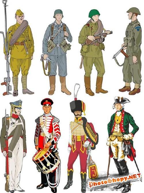 Солдаты и офицеры - векторный сток
