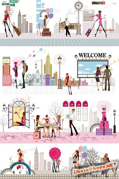 Люди и город (векторный сток)