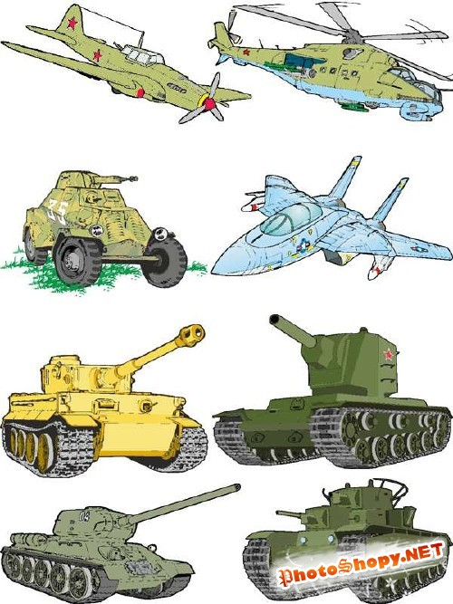 Военная техника (танки, авиация) в векторе