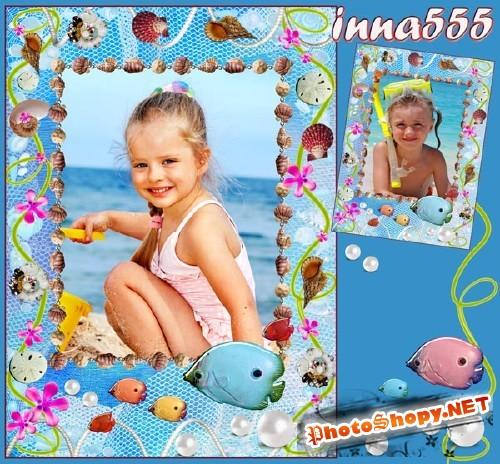 Морская рамка для детей с рыбками и ракушками