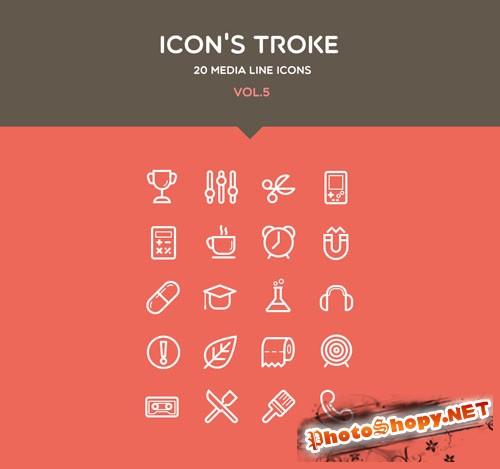 Pixeden - Flat Stroke Line Icons Set Vol5
