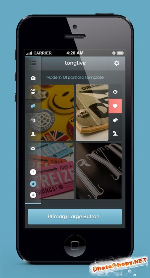 Pixeden - Longlive iPhone App UI Kit Psd